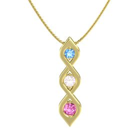 Round Rose Quartz 14K Yellow Gold Necklace with Blue Topaz & Pink Sapphire