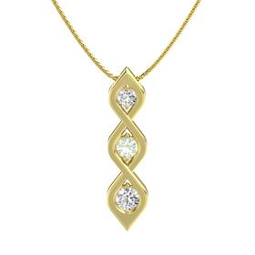 Round Green Amethyst 14K Yellow Gold Pendant with White Sapphire