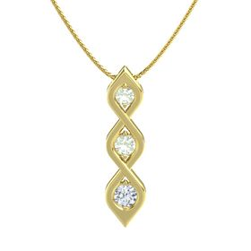 Round Green Amethyst 14K Yellow Gold Pendant with Green Amethyst and Diamond