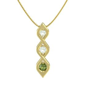Round Green Amethyst 14K Yellow Gold Pendant with Green Amethyst and Green Tourmaline