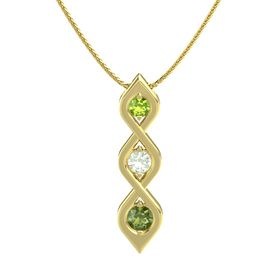 Round Green Amethyst 14K Yellow Gold Necklace with Peridot & Green Tourmaline