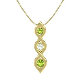 Round Green Amethyst 14K Yellow Gold Pendant with Peridot
