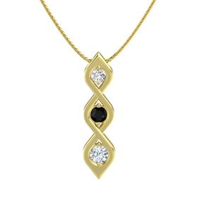 Round Black Onyx 14K Yellow Gold Pendant with White Sapphire and Diamond