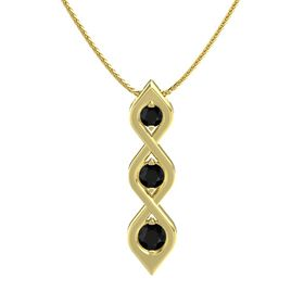 Round Black Onyx 14K Yellow Gold Pendant with Black Onyx