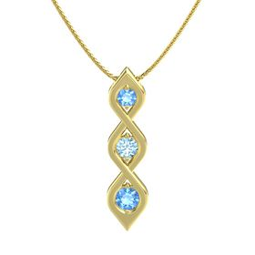 Round Aquamarine 14K Yellow Gold Necklace with Blue Topaz