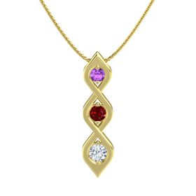 Round Ruby 14K Yellow Gold Pendant with Amethyst and Diamond