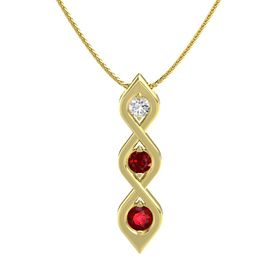 Round Ruby 14K Yellow Gold Necklace with White Sapphire & Ruby