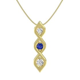 Round Blue Sapphire 14K Yellow Gold Pendant with White Sapphire