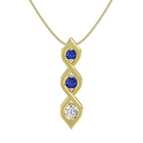 Round Blue Sapphire 14K Yellow Gold Pendant with Blue Sapphire and White Sapphire