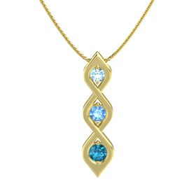 Round Blue Topaz 14K Yellow Gold Pendant with Aquamarine and London Blue Topaz