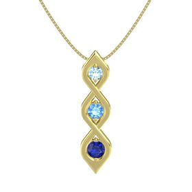 Round Blue Topaz 14K Yellow Gold Pendant with Aquamarine and Blue Sapphire