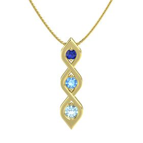 Round Blue Topaz 14K Yellow Gold Pendant with Blue Sapphire and Aquamarine