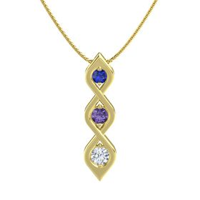 Round Iolite 14K Yellow Gold Pendant with Blue Sapphire and Diamond