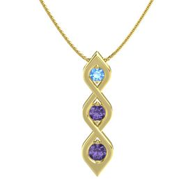 Round Iolite 14K Yellow Gold Necklace with Blue Topaz & Iolite