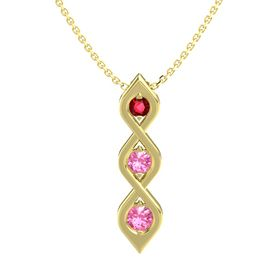 Round Pink Tourmaline 14K Yellow Gold Pendant with Ruby and Pink Tourmaline