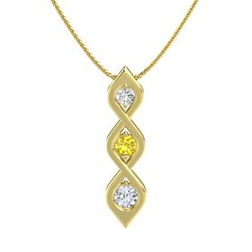 Round Yellow Sapphire 14K Yellow Gold Necklace with White Sapphire & Diamond