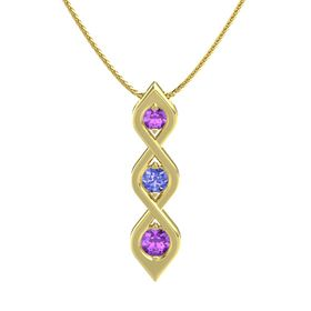 Round Tanzanite 14K Yellow Gold Pendant with Amethyst