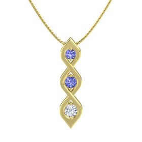 Round Tanzanite 14K Yellow Gold Necklace with Tanzanite & Diamond