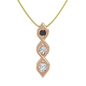Round Diamond 18K Rose Gold Pendant with Black Diamond and Diamond
