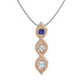 Round Diamond 18K Rose Gold Pendant with Blue Sapphire and Diamond