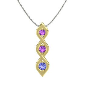 Round Amethyst 18K Yellow Gold Necklace with Amethyst & Tanzanite