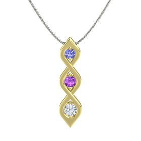 Round Amethyst 18K Yellow Gold Necklace with Tanzanite & Diamond