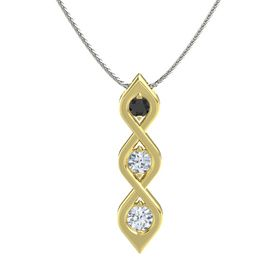 Round Diamond 18K Yellow Gold Pendant with Black Diamond and Diamond
