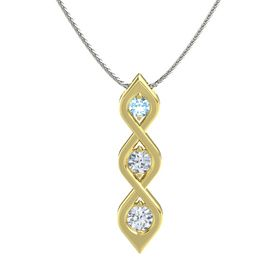 Round Diamond 18K Yellow Gold Pendant with Aquamarine and Diamond