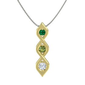 Round Green Tourmaline 18K Yellow Gold Pendant with Emerald and Diamond