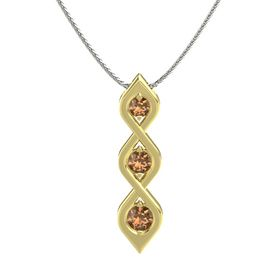 Round Smoky Quartz 18K Yellow Gold Pendant with Smoky Quartz
