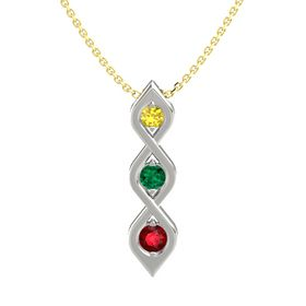 Round Emerald Platinum Necklace with Yellow Sapphire & Ruby