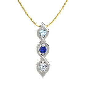 Round Sapphire Platinum Necklace with Aquamarine & Diamond
