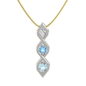 Round Blue Topaz Platinum Pendant with White Sapphire and Aquamarine