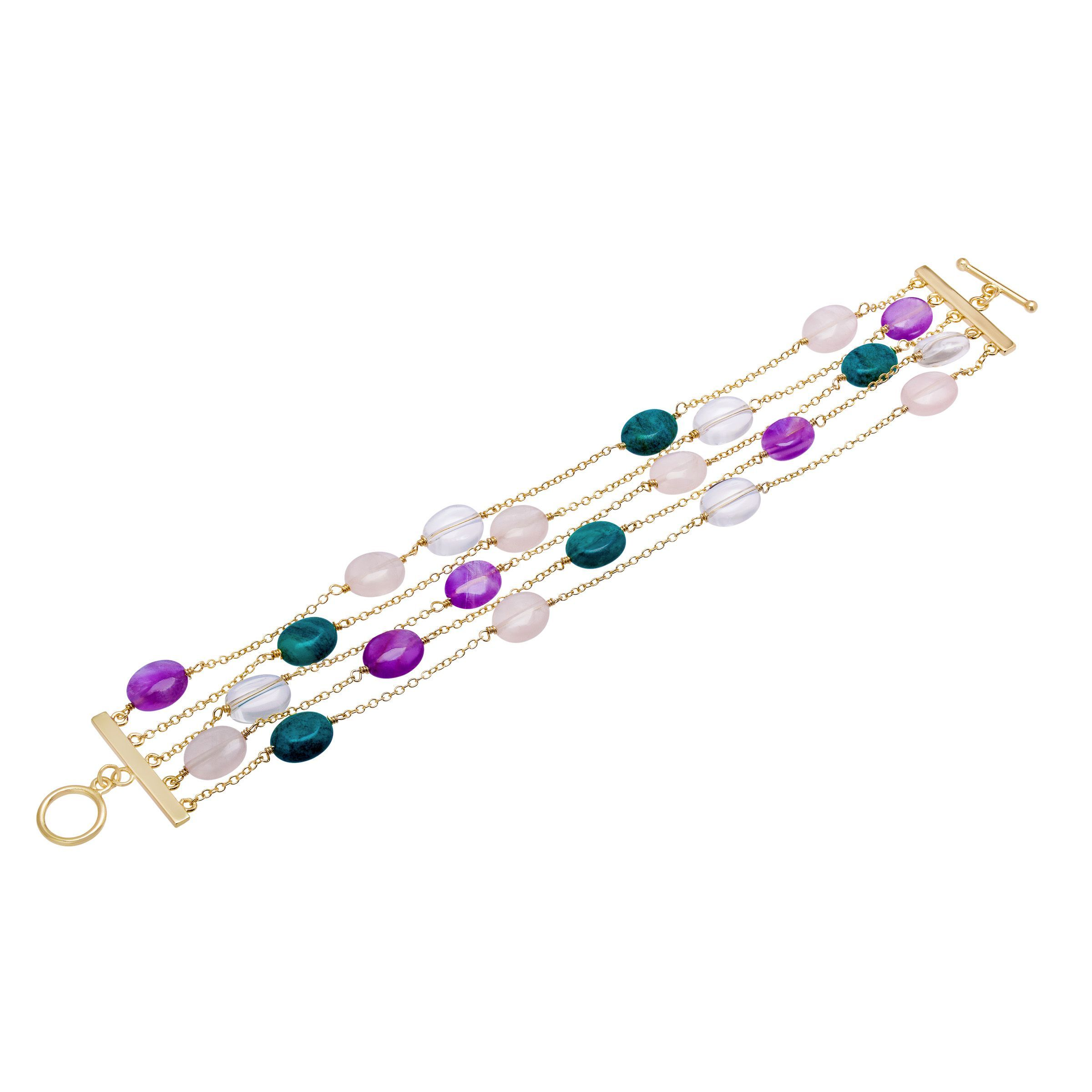 766943ca3bd81a Details about Natural Multi-Stone Bracelet in 14K Gold-Plated Sterling  Silver