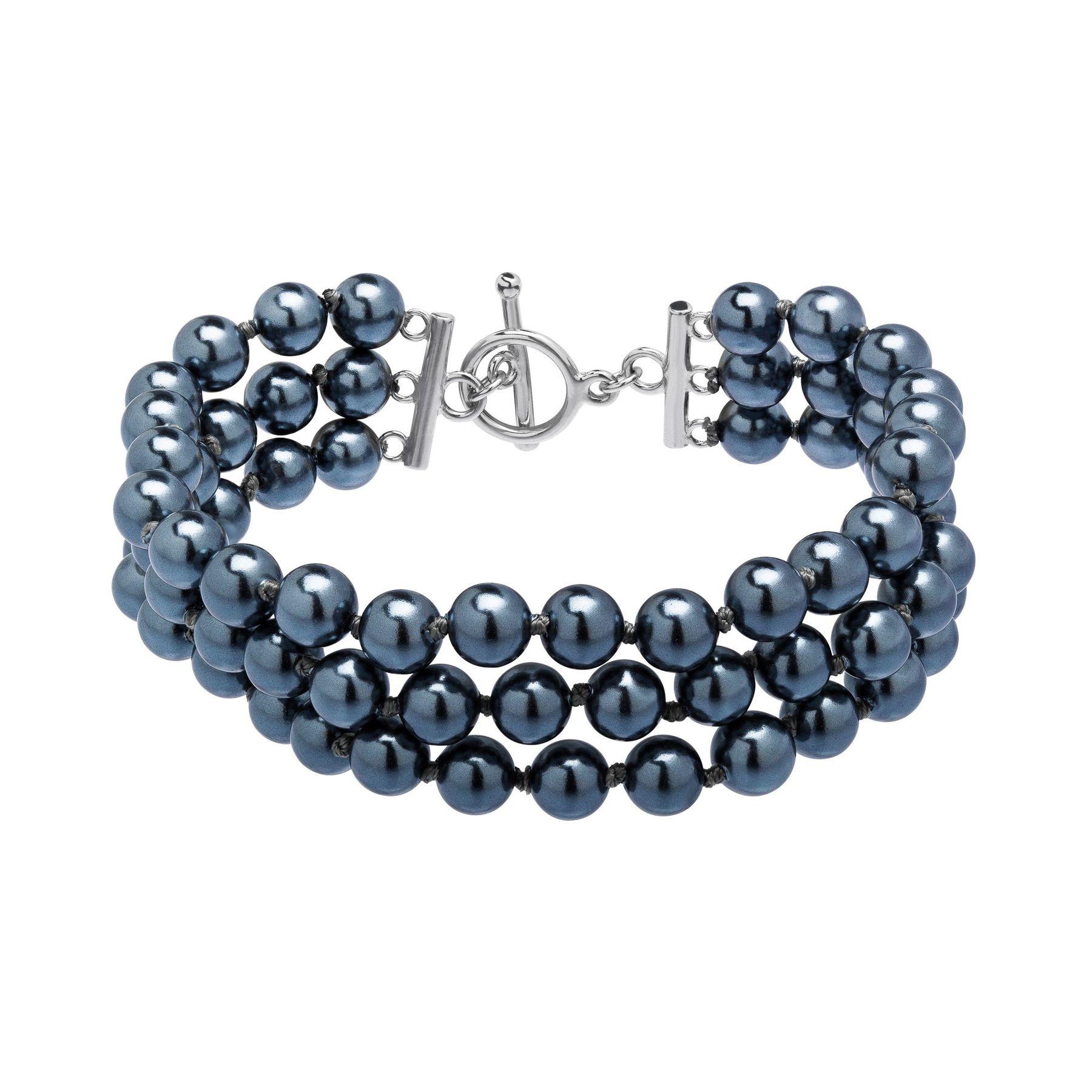 Multi Strand Grey Pearl Bracelet