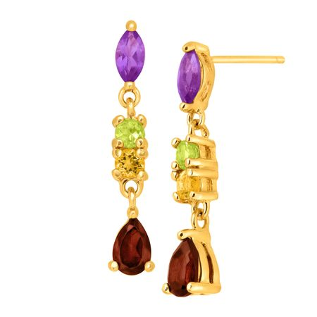 earrings semi precious p yellow gemstone gold multi
