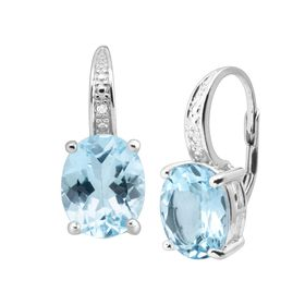 4 7/8 ct Swiss Blue Topaz Earrings with Diamonds