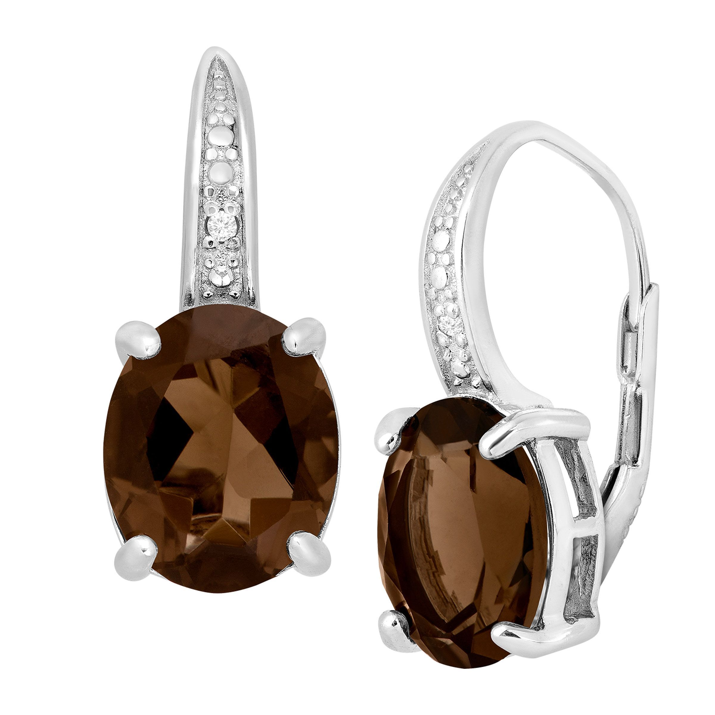 4 Ct Smoky Quartz Earrings With Diamonds In Sterling Silver