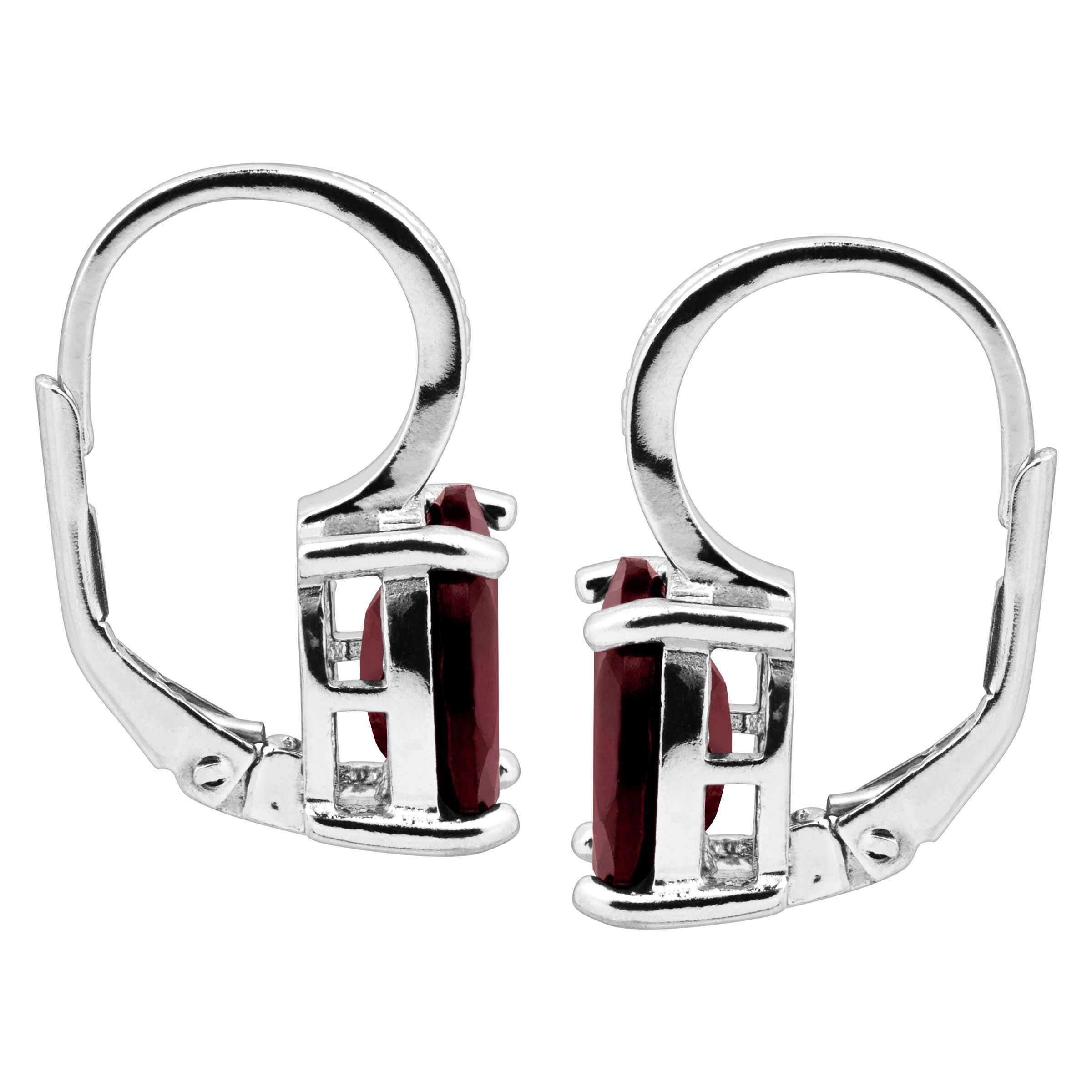 b1ed9e1fc 6 ct Natural Garnet Earrings with Diamonds in Sterling Silver ...
