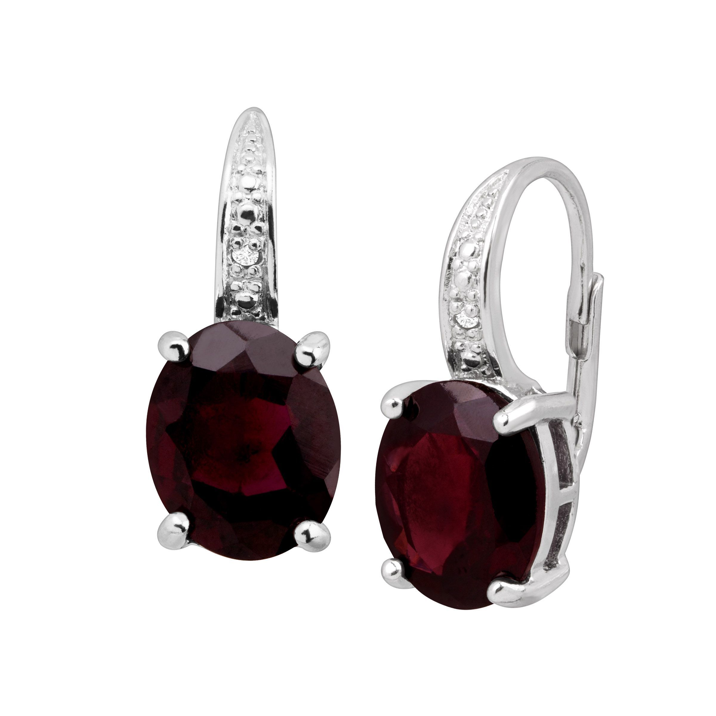 6 Ct Natural Garnet Earrings With Diamonds In Sterling Silver