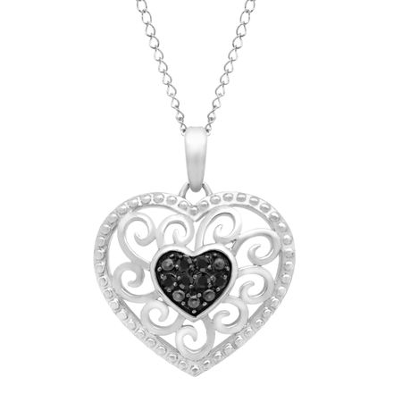 8e53a84dccfcd 1/10 ct Black Diamond Heart Pendant in Sterling Silver
