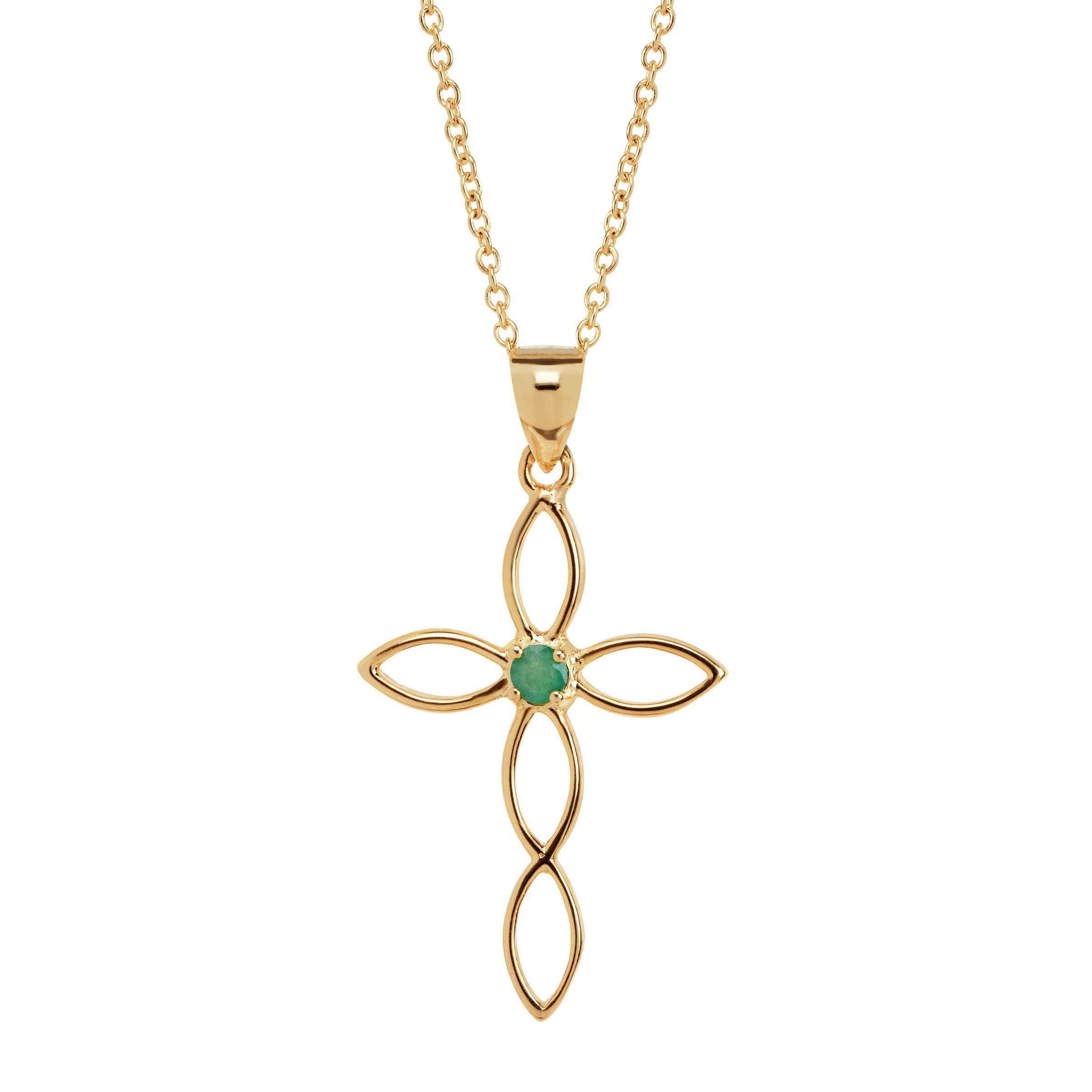 silver cross stone open natural emerald pendant itm in gold plated sterling