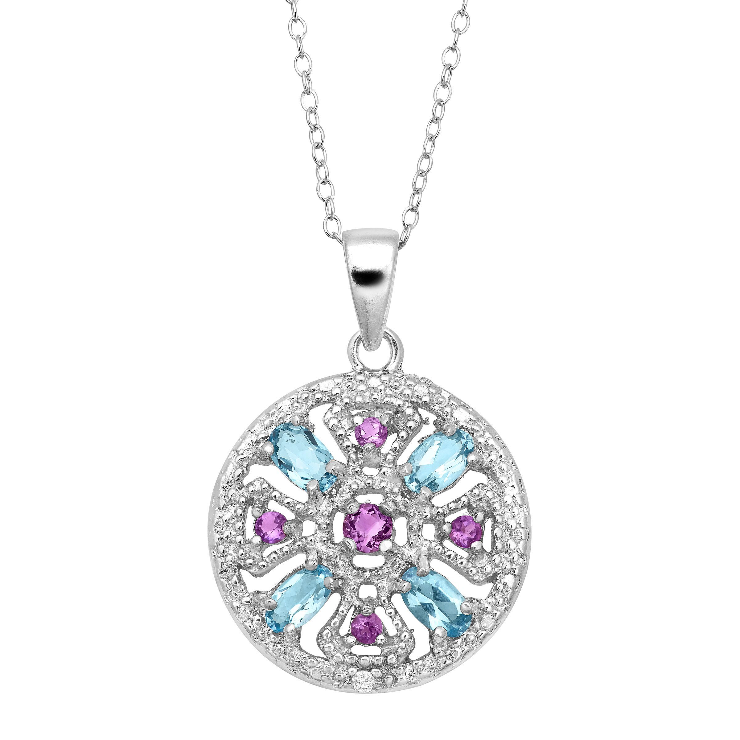 5 Ct Natural Amethyst Amp Blue Topaz Medallion Pendant With