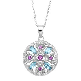 5 ct Amethyst & Blue Topaz Medallion Pendant with Diamond