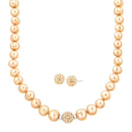 Champagne Ringed Pearl Set with Swarovski Crystals