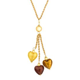 Murano Glass Hearts Lariat Necklace