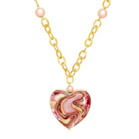 Murano Glass Swirl Heart Necklace