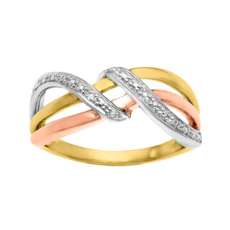 Three Band Ring with Diamond