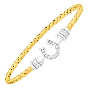 Lucky Woven Two-Tone Horseshoe Bracelet with Cubic Zirconia