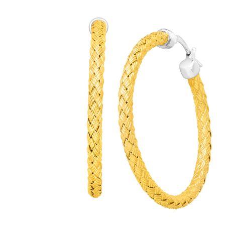 Milan Woven Two Tone Hoop Earrings